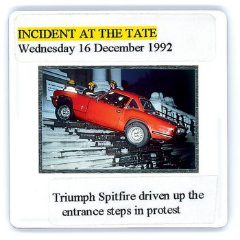 Slide from the Tate Archive documenting a Turner Prize protest in 1992