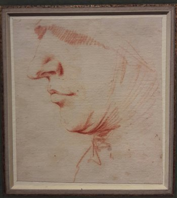 Jusepe de Ribera's Head in Profile Wearing a Veil and a Wimple, 17th century. Jean-Luc Baroni