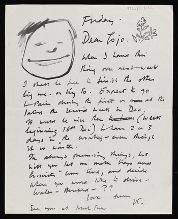 A handwritten letter from Kenneth Armitage to Joan Moore, there is a face drawn on the top left