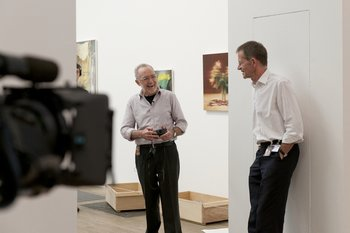 Nicholas Serota with Gerhard Richter during the installation of his retrospective exhibition at Tate Modern in October 2011