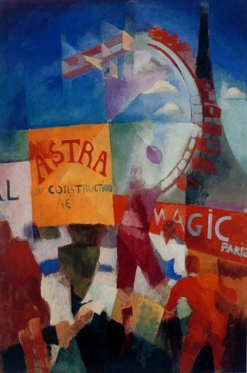 Robert Delaunay The Cardiff Team, 1913 Abstracted figures with advertising hoardings and shapes of ferris wheel, aeroplane and Eiffel Tower in the background.