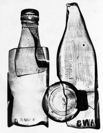 Photograph of a photogram of a milk bottle by Nigel Henderson, 1949–51