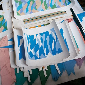 Bridget Riley's studies painted out from collages
