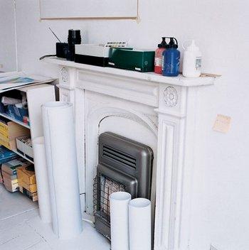 Bridget Riley's West London terrace house (fireplace)