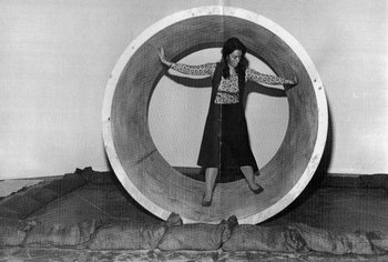 A member of Tate staff navigating the Robert Morris exhibition, 1971