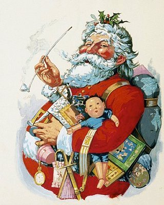 traditional image of Santa Claus in a red coat with toys pipe and holly in his hair