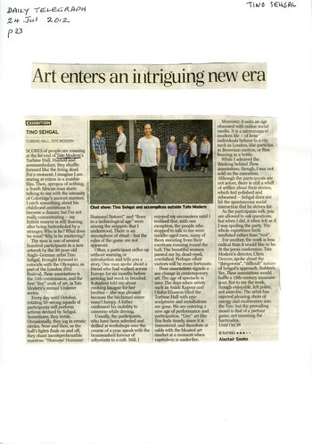 Press coverage for Tino Sehgal: Alastair Sooke, 'Art enters an intriguing new era', Daily Telegraph, 24 July 2012