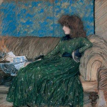 Philip Wilson Steer The Sprigged Frock 1890 Pastel on paper laid down on canvas, lady in green dress on sofa