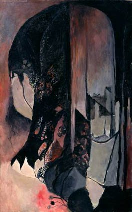 Graham Sutherland Premonition (Black Landscape seen in portrait format) 1938 Oil on canvas