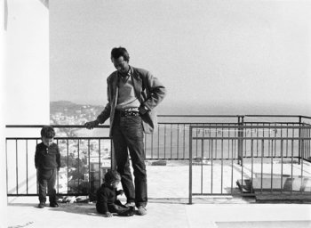 Wifredo Lam with his sons Eskil and Timour on the terrace of the house in Albissola, 1965