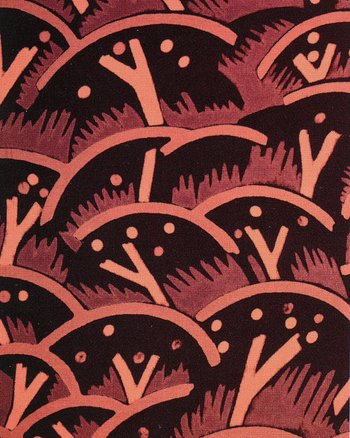 Paul Nash's Cherry Orchard textile design, block-printed crêpe de Chine in three colourways for Cresta Silks, 1930