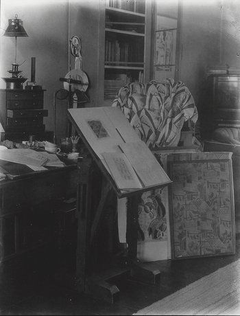Paul Nash's studio showing textile designs in progress, photographed by Francis Bruguière, c.1935