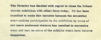 Draft press release concerning the closure of Robert Morris 7 May 1971 (detail)