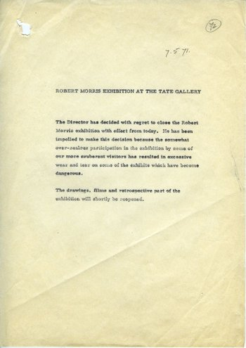Draft press release concerning the closure of Robert Morris, dated 7 May 1971