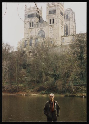 Photograph of Ian Breakwell by the River Wear in front of Durham Cathedral