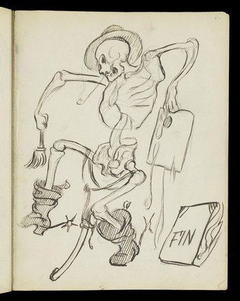 Sketch of a skeleton wearing boots and a hat and smoking a pipe