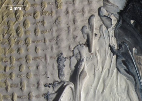 Micrograph of gap between the face and yellow hair where the fingers meet the face, showing grainy grey particles in paint