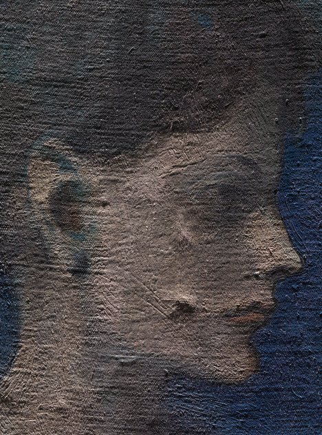 Detail of face of Girl in a Chemise c.1905 under raking light from top