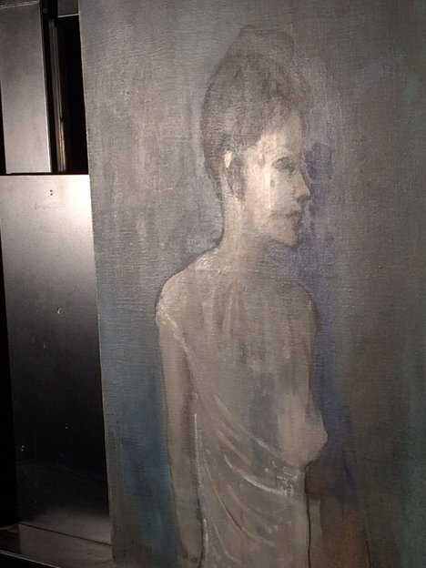 Girl in a Chemise c.1905 under oblique light, revealing the face of the boy