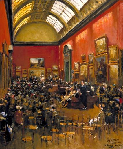Sir John Lavery, King George V Accompanied by Queen Mary, at the Opening of the Modern Foreign and Sargent Galleries at the Tate Gallery, 26 June 1926 1926