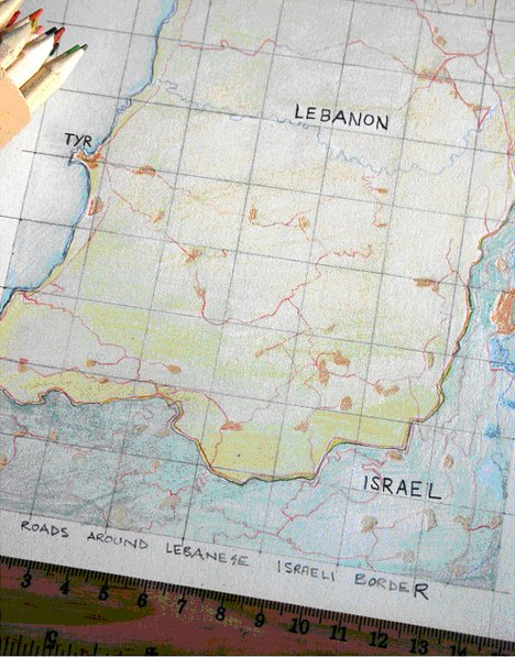 Akram Zaatari Sketched Map of Main Roads Around Lebanese-Israeli Border 2012