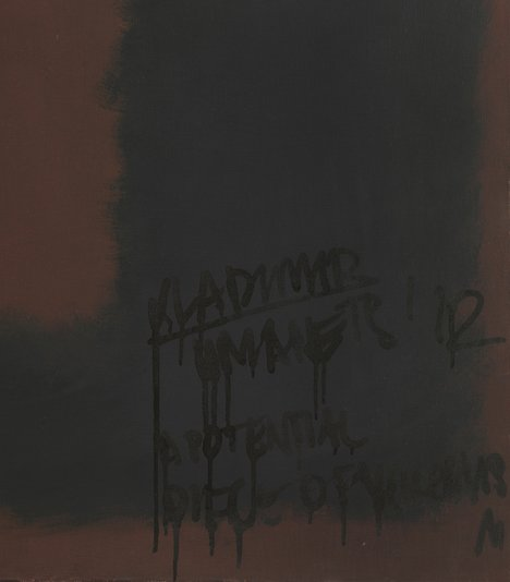 Detail of graffiti in bottom right of Black on Maroon 1958