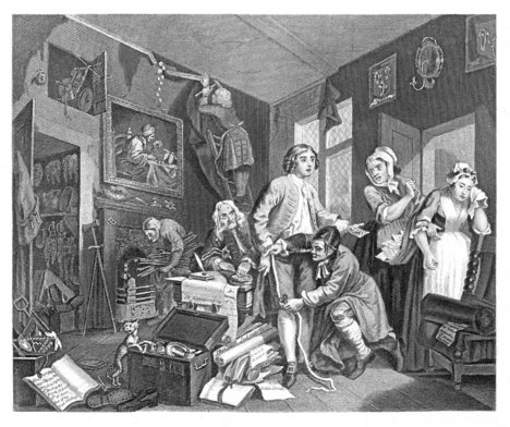 William Hogarth, 'The Young Heir taking Possession', A Rake's Progress (plate 1) 1735