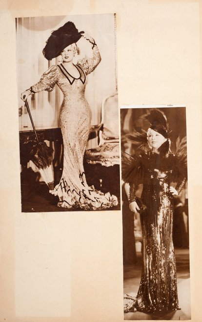 Photographs of the actress Mae West in Edward Burra's scrapbook c.1929–36