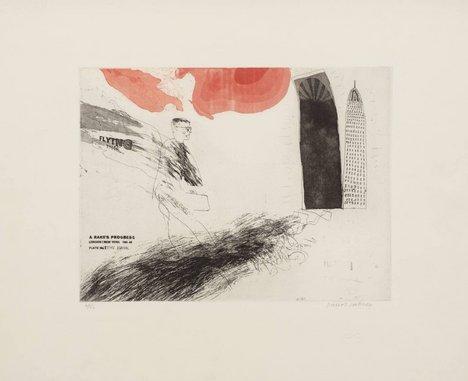 David Hockney, 1. The Arrival from A Rake's Progress 1961–3