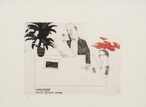 David Hockney, 1a. Receiving the Inheritance from A Rake's Progress 1961–3