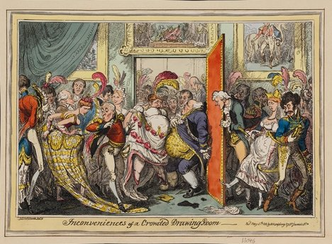 George Cruikshank Inconveniences of a Crowded Drawing Room 1818 a picture of a room full of people squashed up against each other