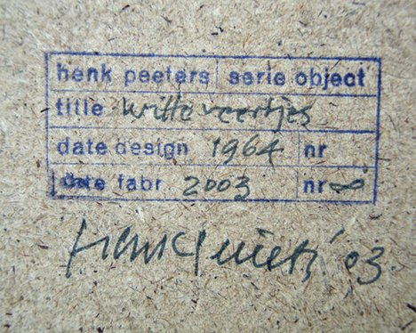 Henk Peeters White Feathers 2003 Detail of signature