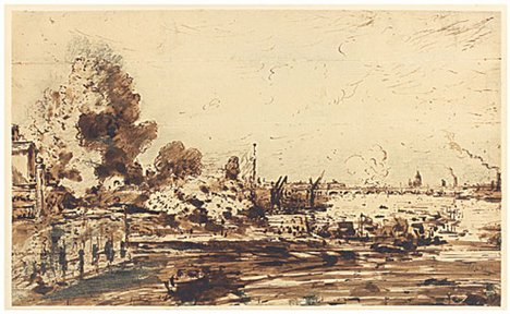 John Constable Sketch for 'The Opening of Waterloo Bridge' about 1819-20
