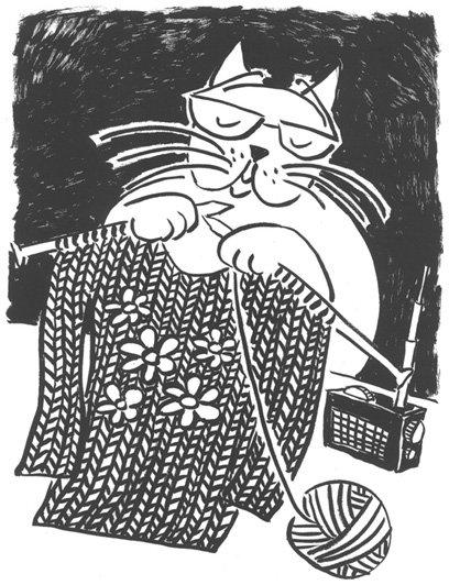 Lisa Milroy Shortsighted Cat Knitting A Sweater  2003