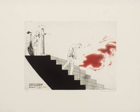 David Hockney '6a. The Wallet Begins to Empty', from A Rake's Progress 1961–3