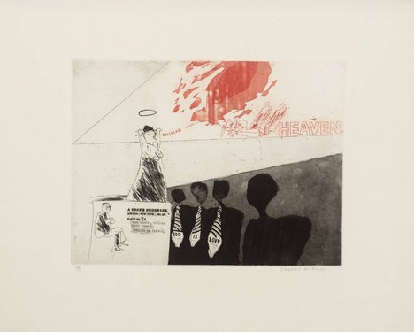 David Hockney '2a. The Gospel Singing (Good People) (Madison Square Garden)', from A Rake's Progress 1961–3