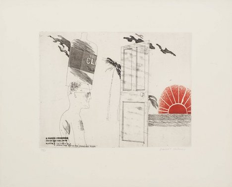 David Hockney '3. The Start of the Spending Spree and the Door Opening for a Blonde', from A Rake's Progress 1961–3