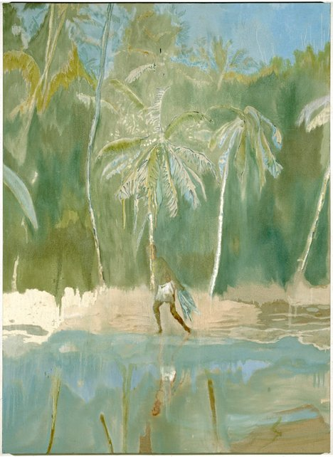 Peter Doig Pelican 2004 painting of a beach and tropical tress with a male figure carrying a fishing net
