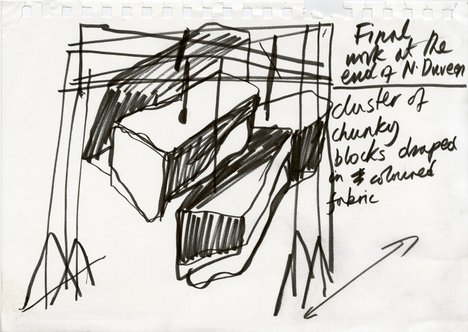 A drawing by Phyllida Barlow; part of her preparation work for a commission at Tate Britain in 2014
