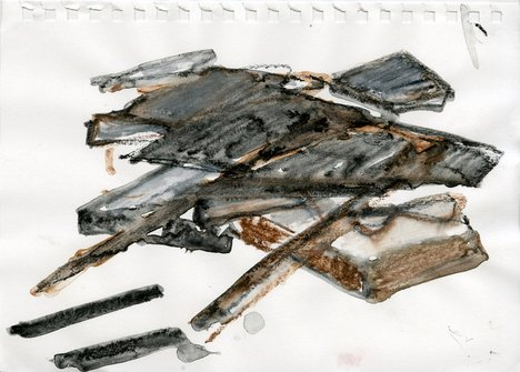 A watercolour by Phyllida Barlow in shades of grey and brown, part of her preparation work for a commission at Tate Britain
