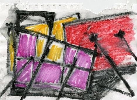 Drawing in yellow, red, purple and black
