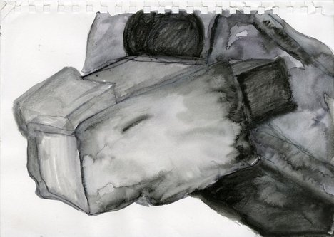 A watercolour by Phyllida Barlow in shade of grey, part of her preparation work for a commission at Tate Britain
