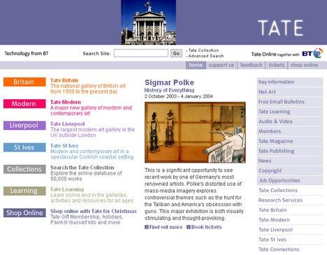 Tate Online homepage 2004