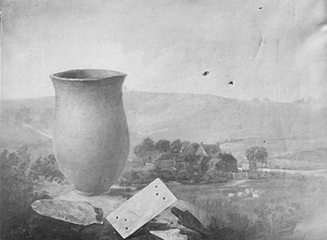 Thomas Guest Grave group from a bell barrow at Winterslow – landscape background 1814