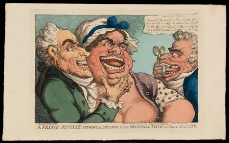 Thomas Rowlandson A French Dentist Shewing a Specimen of his Artificial Teeth and False Palates 1811