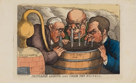Thomas Rowlandson Distillers looking into their own business 1811 image of three men looking in to a beer barrell