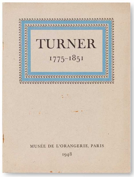 Tate Publishing catalogue for Turner 1775-1851 exhibition at Musée de l'Orangerie, Paris, 1948