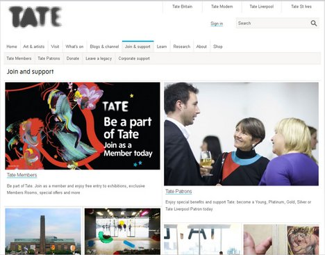 Example of current Tate web page design
