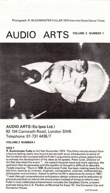 Cassette inlay for Audio Arts Volume 2 no 1 with photo of Richard Buckminster Fuller and Side A contents below