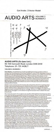 Audio Arts Volume 2 No 2 Inlay 1 showing cassette layout with Carl Andre's 3 Vector Model followed by biographical text about the artist